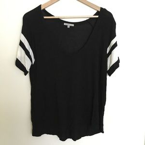 Black and white scoop neck athletic tee